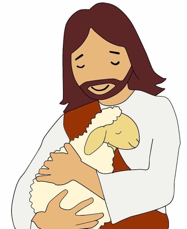 Jesus als Hirte mit Schaf