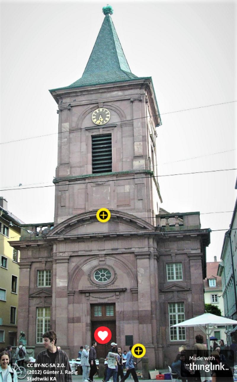 Kleine Kirche, Karlsruhe - Foto: als Tourstart in thinglink.com (2019)